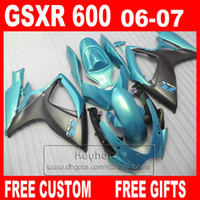Wholesale Gsx R Matte Black K6 - 7 gifts Injection molding freeship fairings set for 06 07 SUZUKI GSXR 600 matte black blue fairing kit 2006 GSXR600 2007 K6 GSX R 600 Bq59