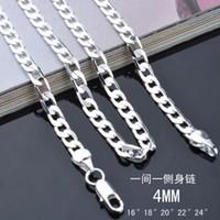 4mm 925 halskette großhandel-Art und Weisemänner Schmuck 925 Sterlingsilber überzogene 4MM 16-24inches Kettenhalskette Qualitäts-freies Verschiffen