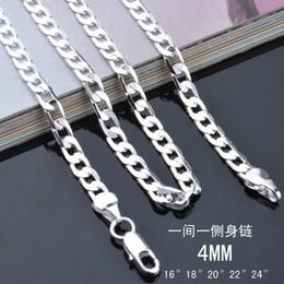 2019 tendência de colar de corrente Moda masculina de Jóias de prata esterlina 925 banhado 4 MM 16-24 polegadas cadeia colar Top quality Frete Grátis