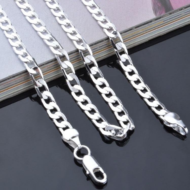 Moda erkek Takı 925 ayar gümüş kaplama 4 MM 16-24 inç zincir kolye En kaliteli Ücretsiz Kargo