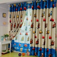 Wholesale Curtains Kid - Free shipping Enviroment-friendly Child Cartoon Curtain Finished Printed Curtaint Tulle Kids Curtain For Children Mr. car