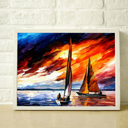 sailing paintings NZ - Seascape sailing 100% hand painted thick textured blue ocean sailing knife painting high quality modern home decoration paintings JL015
