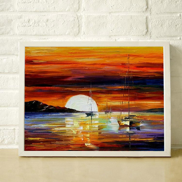 100% Hand Painted thick oil palette knife painting sailing high quality modern home decoration canvas mural JL046