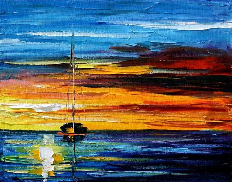 100% peint à la main épais bleu texturé océan voile couteau peinture haute qualité moderne décoration de la maison peintures JL036