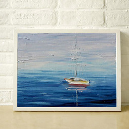 sailing paintings NZ - 100% Hand Painted thick textured palette knife painting ocean sailing modern home decoration paintings art JL061