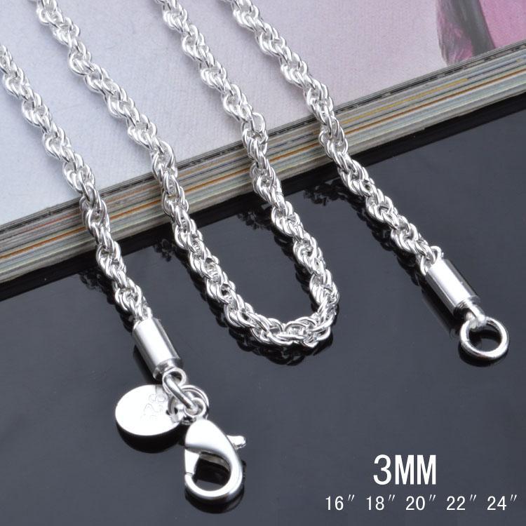 Haute qualité en argent sterling 925 plaqué 3MM (16-24 pouces) chaîne torsadée chaîne collier bijoux de mode livraison gratuite