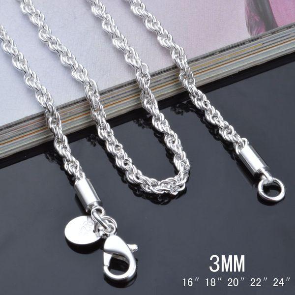 Alta qualidade 925 esterlina banhado a prata 3 MM (16-24 polegadas) torcido corda cadeia colar de moda jóias frete grátis