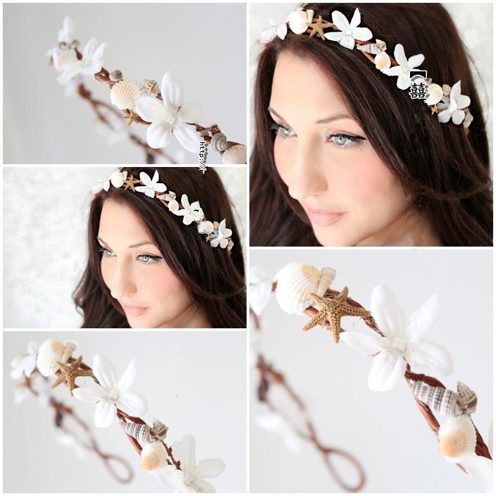 Bohemia Beach Wedding Headpiece Bridal Garland Head Wreath With Flowers Shells And Conchs Bridal Hair Accessories