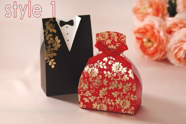 Wedding Favours Boxes Candy Gift box bride and groom dress candy boxes Wedding supply 2pcs=1pair 100pairs/lot