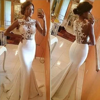 Wholesale See Court Train - Sheer lace top wedding dresses with satin mermaid skirt See through net appliques summer beach Bridal gowns