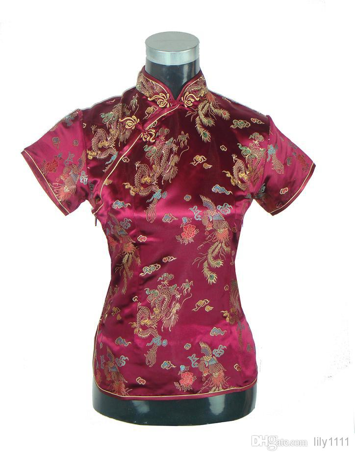 Shanghai Story New Arrival fashion cheongsam top traditional Chinese Women's Silk/Satin Top china floral print blouse Dragon Shirt Chinese