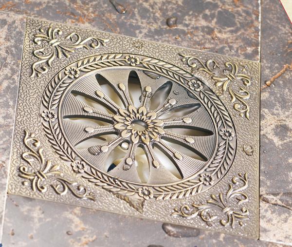 top popular bathroom accessories deodorization floor drain Antique Brass  brushed nickel  Shower Drain Waste bathroom hardware flower art 2021