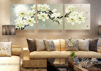 Wholesale Three Panel Modern Art - 3 pieces wall art set modern picture abstract oil painting wall decor canvas pictures for living room white magnolia