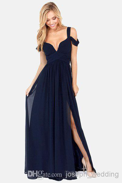 Sexy Bariano Océano de elegancia azul marino Azul Corte alto Corte alto Gasa Semi formal Vestido largo Evento Largo Vestido Vestido de noche Envío gratis 2017