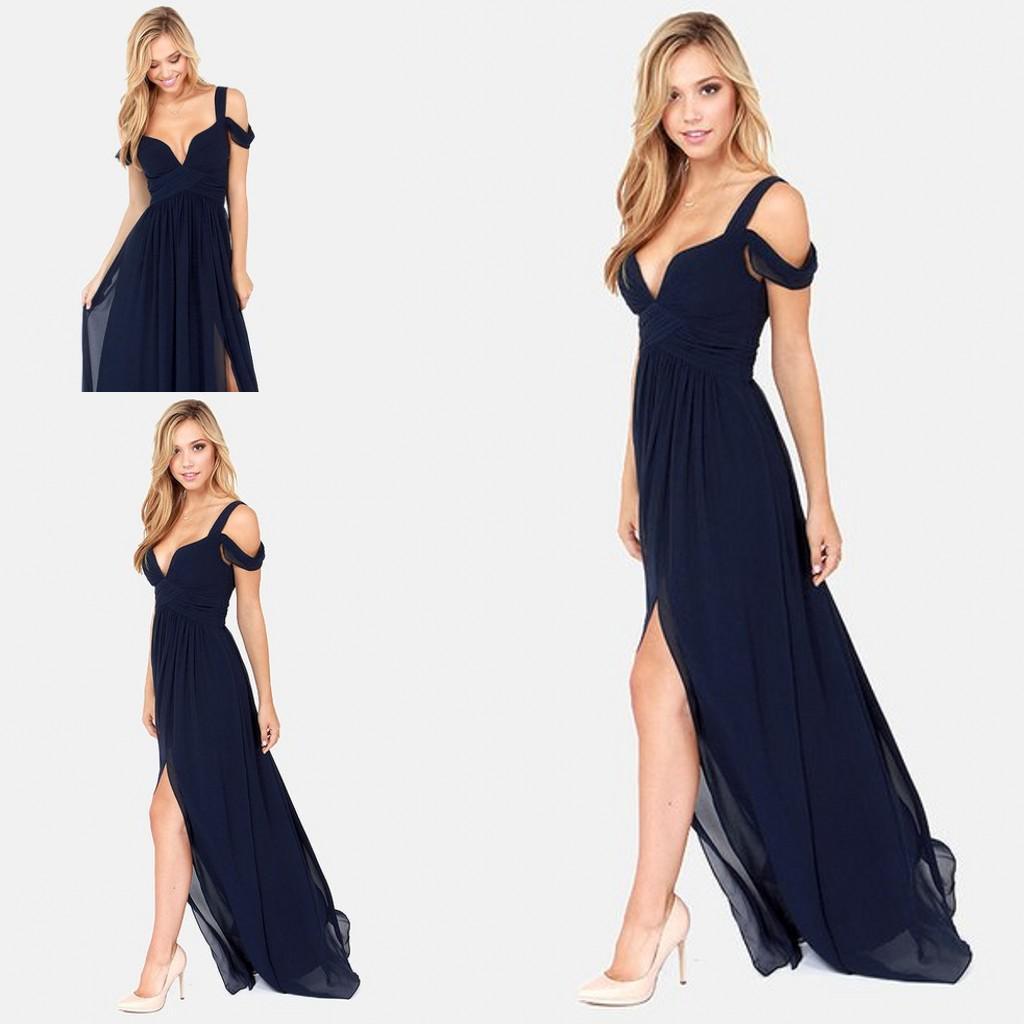 Sexy Bariano Ocean of Elegance Azul marino de corte bajo Corte de gasa Gasa Semi Formal Vestido largo para eventos Vestido de noche Envío gratis 2017