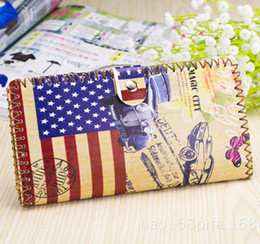 Wholesale Wholesale Handmade Wallet - New fashion leather wallet handmade graffiti women Long purse wallets printing Ethnic card holders brand quality free shipping