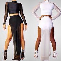 Wholesale Clubwear Dress High Slits - New Women Long Sleeve Mesh two piece runway Sexy Party Long Maxi clubwear dress G6449 Double High Side Slit Black White Maxi Dress