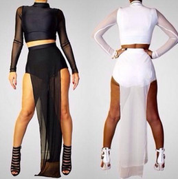 Wholesale High Double Slit Maxi Dress - New Women Long Sleeve Mesh two piece runway Sexy Party Long Maxi clubwear dress G6449 Double High Side Slit Black White Maxi Dress
