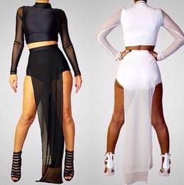 Wholesale Double Chiffon - New Women Long Sleeve Mesh two piece runway Sexy Party Long Maxi clubwear dress G6449 Double High Side Slit Black White Maxi Dress