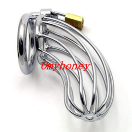 Wholesale Steel Bondage Chastity - Wholesale - Male Chastity Devices Bondage Stainless Steel Lockable Cock Ring Penis Cage Penis Cage Dildo Cage Sex Toys for Men M500