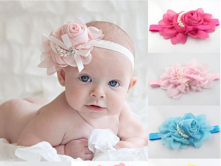 New Style Beautiful Headband Hairband Baby Girls Flowers Pearls Headbands  Kids  Hair Accessories Baby Hair Band Christmas Gift 13 Colours Kid Hair ... 30493ecf1cc