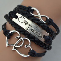 Wholesale Braided Leather Bracelet Directions - Promotion Black Leather Braid Fit Double Hearts Alloy One Direction Bracelet Wraps infinity bracelet
