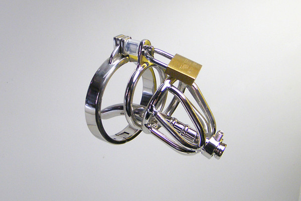 Latest Small Male stainless steel Cock Cage cb3000 chastity male Chastity Device with thick Catheter and non slip ring boy in chastity