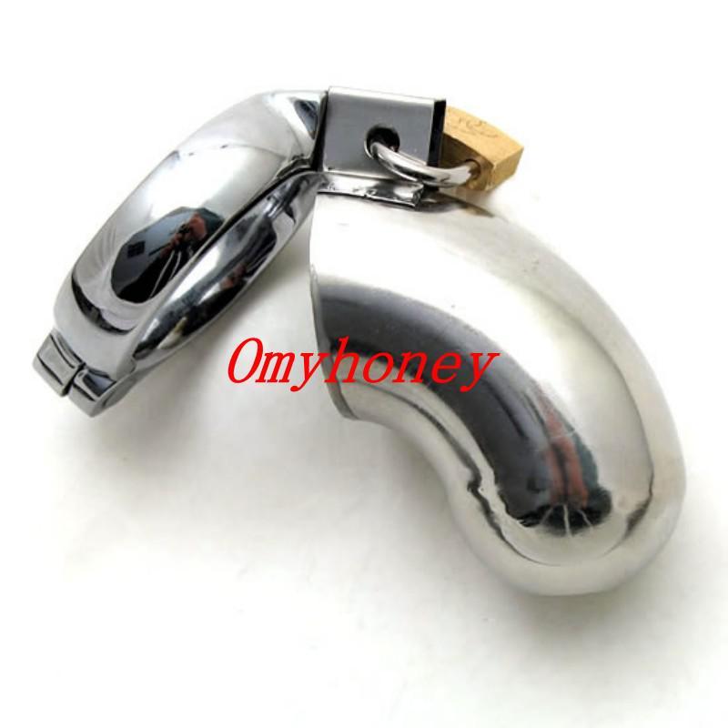 Al por mayor - Nuevo diseño de acero inoxidable masculino Bondage Chastity Devices Cock Cage con pequeño agujero frontal; Pene Cage Ring Sex Toys para hombres