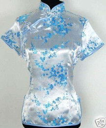 Wholesale Printed Blouses For Women - Shanghai Story chinese cheongsam top traditional Chinese Women's Silk Satin Top china floral print blouse Sky Blue Chinese Shirt for woman