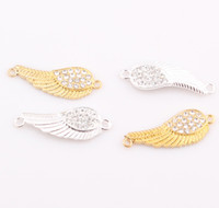 Wholesale Rhinestone Connectors For Bracelets - Mixed Crystal Rhinestones Curved Sideways Angel Wings Bracelet Connector Charm Beads Findings for DIY Jewelry ZBE237