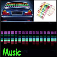 Wholesale Equalizer Glow Flash Panel - EL Car Stickers Car Music Rhythm Light Car Decals 90*10cm Sound Music Activated EL Sheet Car Sticker Equalizer Glow Flash Panel Light 6Color