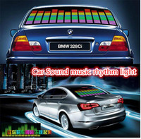 Wholesale El Car Flashing Sticker - Led Car Stickers Sound Music Activated EL Car Stickers Equalizer Glow Flash Led Car Decals 90cm x 25cm 90cm x 10cm Car Music Rhythm Light