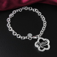 Wholesale Fashion Deals - Hot Deals 925 Sterling Silver Flower Pendant Charm Bracelet with Zircon Woman Fashion Party Christmas Gift Free Shipping