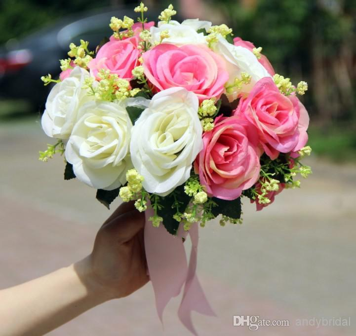 2014 Wedding Bouquet Three Styles Mixed Colors Green Pink Purple ...