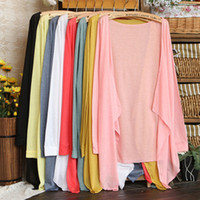 Wholesale Summer Blouses Sold Wholesale - 2014 Summer hot-selling ultra-thin candy color 100% cotton long-sleeve sun protection clothing air conditioning blouses 10pc lot