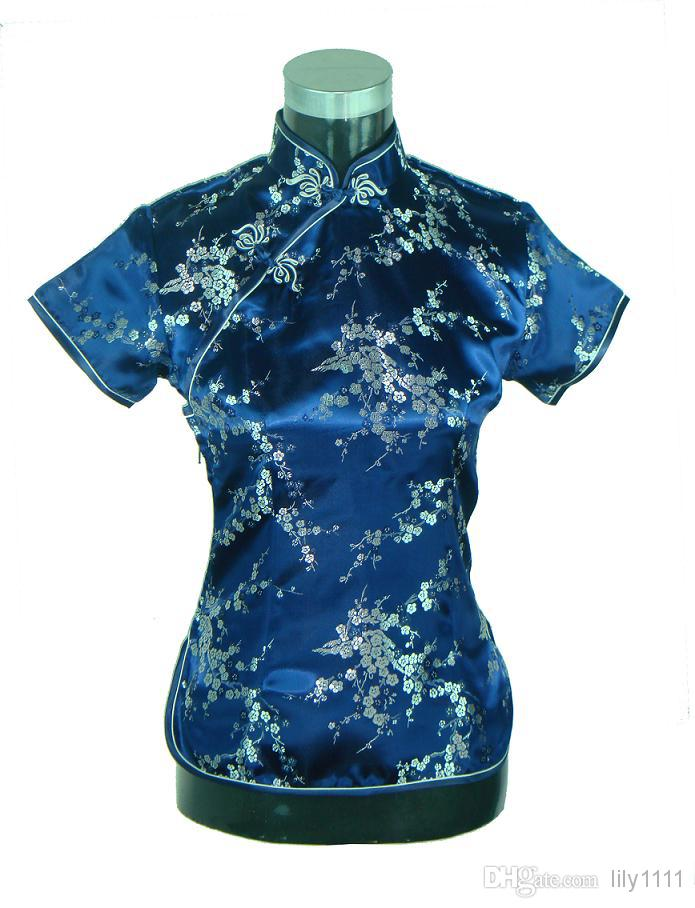 Shanghai Story New Arrival Chinese cheongsam top traditional Chinese Women's Silk/Satin Top china floral print blouse Dark blue