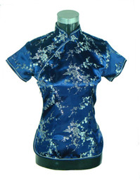 Wholesale Blue Floral Blouse - Shanghai Story New Arrival Chinese cheongsam top traditional Chinese Women's Silk Satin Top china floral print blouse Dark blue