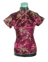 Shanghai Story Silk online shopping - Shanghai Story New Arrival fashion cheongsam top traditional Chinese Women s Silk Satin Top china floral print blouse Wine Red
