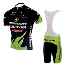 Wholesale Merida Green Cycling Jersey - Men Short Cycling Suit Kit CLASSIC MERIDA MULTIVAN BLACK GREEN NEW Bike Jersey + Bib Shorts with Gel pad Short Sleeve Bicycle wear maillot
