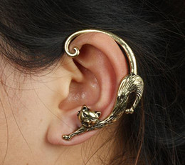 Wholesale Golden Ear Cuffs - Punk Vintage Cat Ear Clip Women Earrings Gothic Rock Ear Cuffs Golden Silver Fashion Jewelry Halloween Easter Chirstmas Thanksgiving Day Ear