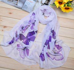 Wholesale Stripe Chiffon Shawls - 2016 Scarfs Supra Sale Chiffon Scarfs Sarongs Splendor Butterfly Floral Pattern Beach Towel Printed Scarves 10pcs lot 10 Colors