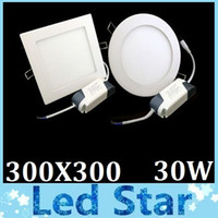 Wholesale Free Led Downlights - Free Shipping + High Power 30W Led Downlights For Kitchen bathroom Lamp AC 85-265V Led Panel Lights 300X300mm Warm Natrual Cold White