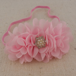Wholesale Diy Mini Ribbons - Free shipping New triple solid mini chiffon flower with lace star Rhinestone headband DIY flower headband for Kids 20pcs lot
