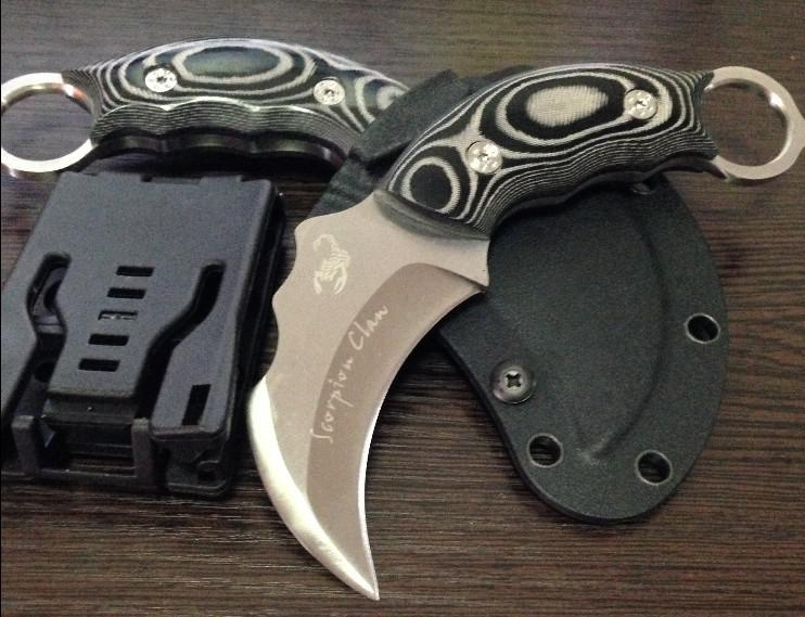 Drop shipping Scorpion Claw Karambit multi Pocket knife Fixed Blade combat camping Knives AUS-8A blade 59HRC Best gift