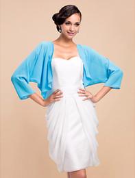 Wholesale Nice Jackets - Nice 3 4 Sleeve Chiffon Evening Wedding Wrap Jacket (More Colors) DH7325