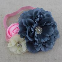 Wholesale Wholesale Baby Silk Fabric - Trial order fabric peony flower headband baby girl headband chiffon pearl Rhinestone flower headband hair Accessories 10pcs lot