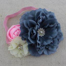 Wholesale Order Chiffon Fabric - Trial order fabric peony flower headband baby girl headband chiffon pearl Rhinestone flower headband hair Accessories 10pcs lot