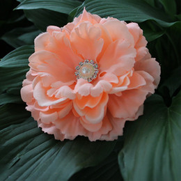 """Wholesale Peony For Headband - 4.3"""" 12colors mix fabric silk peony flower with pearl Button handmade fabric flower head for baby girl headband or clip 24pcs"""