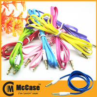 Wholesale Headphone Extension Cable Cellphone - 3.5mm Flat Noodle Aux Audio Cable Style Extension Stereo Auxiliary Cables Colorful for Headphone cellphone mp3 Smartphone Ipod Itouch iPHONE