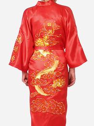 $enCountryForm.capitalKeyWord UK - Free Shipping new arrival Red Chinese men's Satin Polyester Embroidery Robe Kimono Nightgown Dragon Sleepwear M L XL XXL S0010